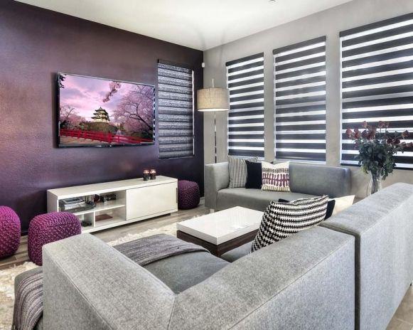 Cores usadas em salas de estar modernas ( lilás e cinza) #decoraciondecocinasmodernas