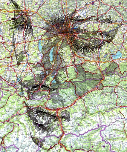 UK-based illustrator Ed Fairburn creates portraits on maps, incorporating the roads and other map features into the likenesses.