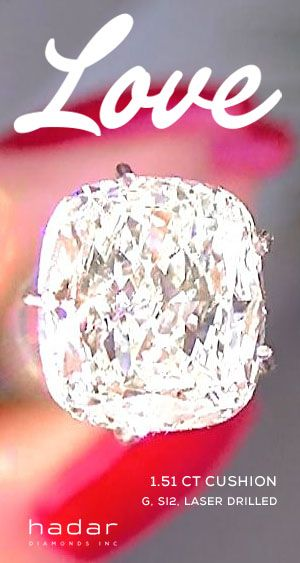 Diamond Sale by HadarDiamonds.com . 1.51 carat Cushion Cut Diamond.  Exceptional sparkle and brilliance.  G, SI2, laser drilled diamond.  Ideal for an affordable, stunning diamond engagement ring.  Actual video available.