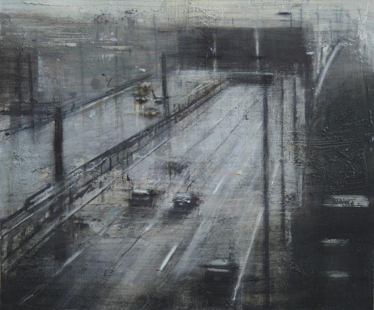 Lluvia en la autopista.37x49 cms