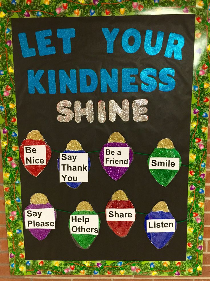 Winter school nurse bulletin board  Let your kindness shine