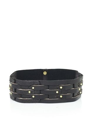 Vince Camuto Women's Studded Leather Waist Belt (Black)