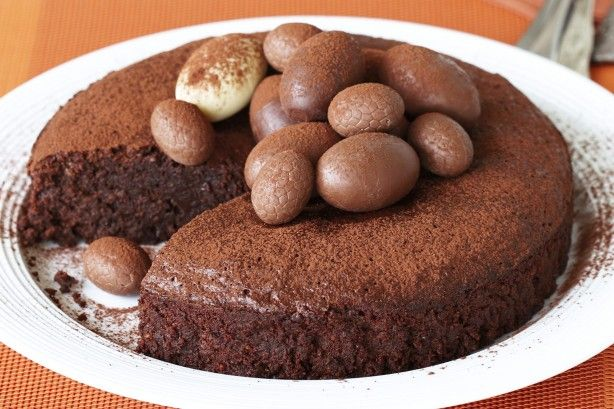 This decadent chocolate cake is made from a delicious combination of hazelnut, cocoa and decorative chocolate eggs.