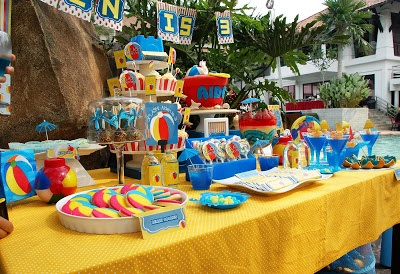 Beach ball themed kids pool party