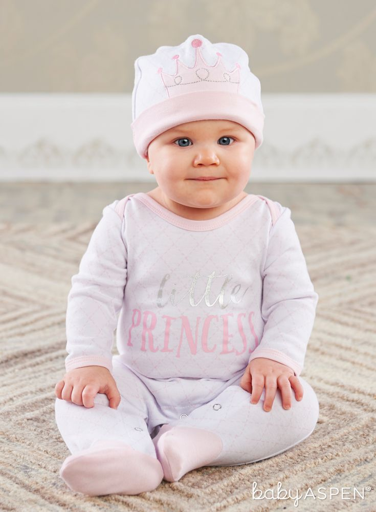Princess Pajama Gift Set features super cute and cozy footed pajamas and a matching pink cap with an embroidered pink crown! | Little Princess Pajama Gift Set | Baby Aspen