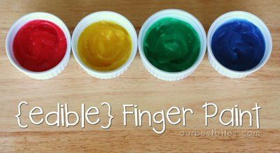 Edible Finger Paints (and Edible Play Dough recipe too).: Playdoh, Edible Fingerpaint, Idea, Craft, Edible Finger Paints, Eat Finger, Pudding, Butter Playdough, Kiddo