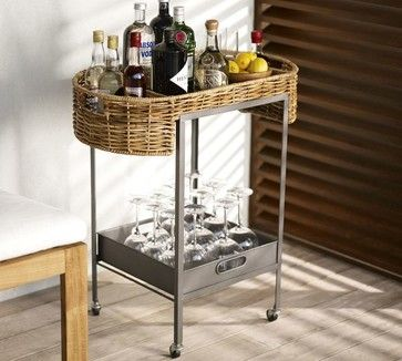 Woven Bar Cart - eclectic - Bar Carts - Pottery Barn