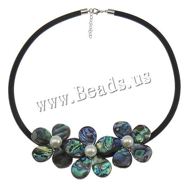 coquille d'ormeau collier, avec Corde de caoutchouc revêtu en nylon & coquille de mer du sud, laiton fermoir homard, avec 2lnch chaînes de rallonge, Placage de couleur platine, 42x42mm, 5mm, Longueur:19-20 pouce, 3Strandstoron/lot, Vendu par lot,perles bijoux en gros de Chine