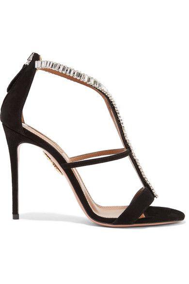 Aquazzura - Constance Crystal-embellished Suede Sandals - Black - IT