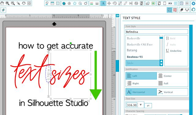 Silhouette Studio Hack for Fixing Inaccurate Text Size