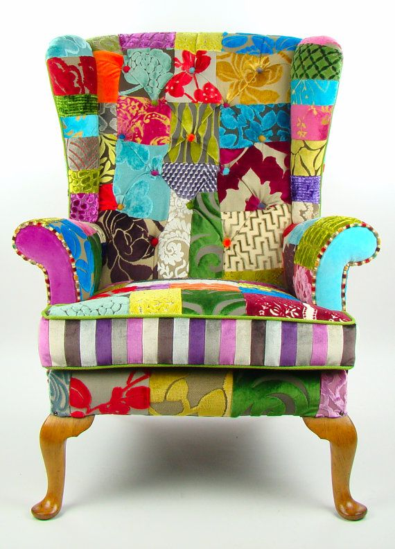 Bespoke patchwork wing back armchair in designer by JustinaDesign