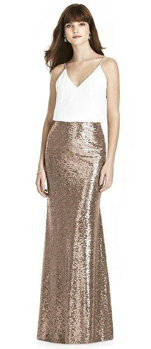 Long rose gold skirt - mux & match bridesmaid dresses- metallic wedding ideas. After Six Bridesmaid style S1509
