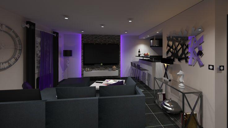 Salon design noir et blanc avec jeu de lumière violette. Photo-réalisme de nuit.
