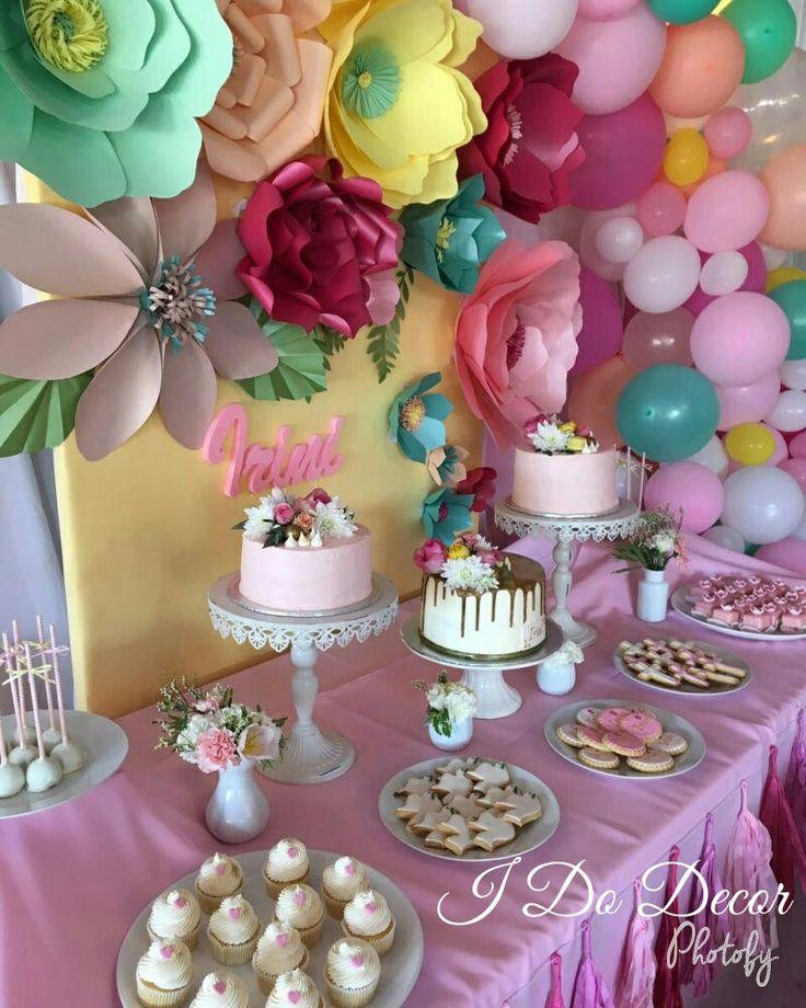 Beautiful pastel paper flower backdrop