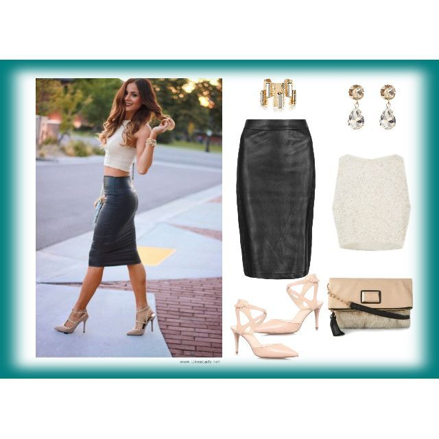 Copy this Outfit for a Sunny Spring Day! All eyes on you in #leather #skirt & nude #croptop which seem to be on the list of every fashionista! Can't You wait to get hands on these pieces?! @marksandspencer skirt @coaststores jewellery & top @debenhams shoes & bag  please see in full details here http://lovemylook.co.uk/copy-this-outfit-for-a-sunny-spring-day.html