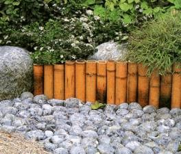 Japanese garden idea, to replace the rotting softwood border edging that I have now.