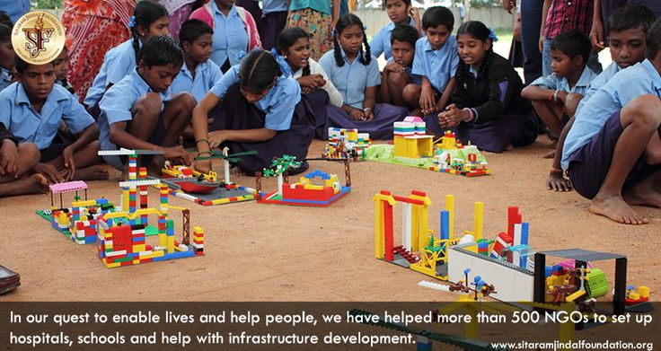In our quest to enable lives and help people, we have helped more than 500 NGOs to set up hospitals, schools and help with infrastructure development. Visit http://www.sitaramjindalfoundation.org/donationstoNGOs.php to learn more.