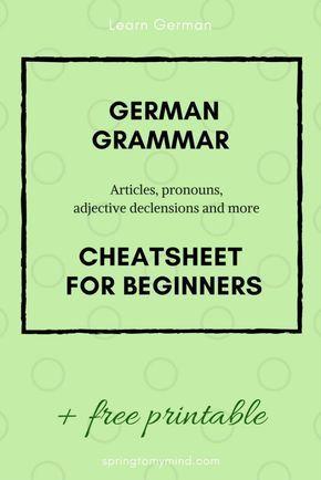German grammar charts | German grammar cheatsheet | German grammar for beginners…