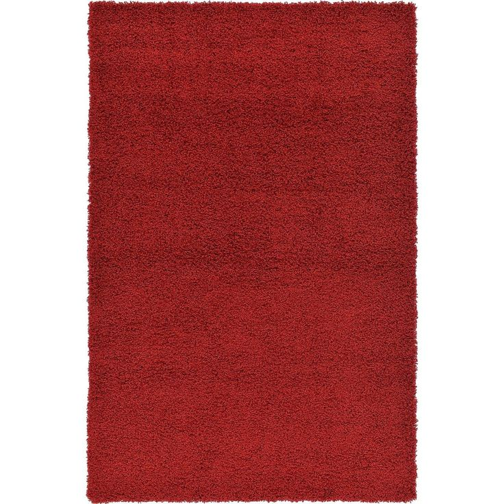 Solid Cherry Red Shag Rug (4' x 6') (4' x 6'), Size 4' x 6'