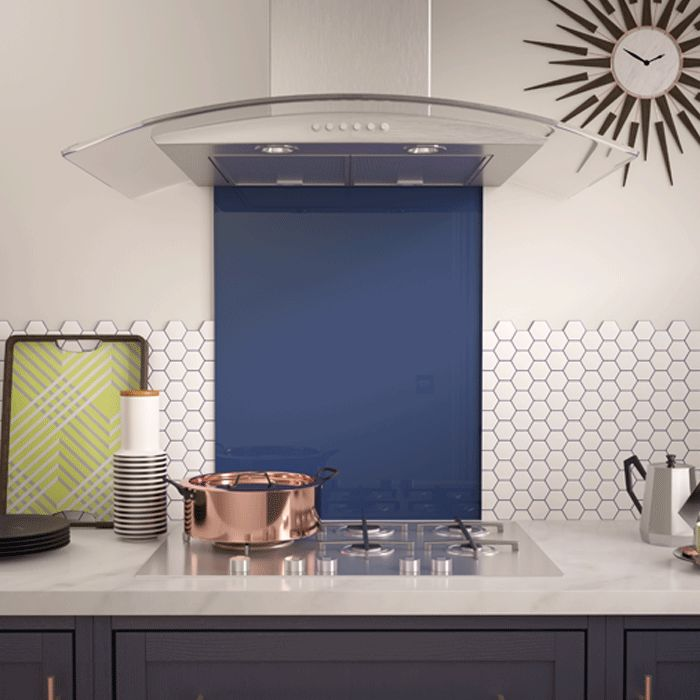 Make a bold statement with this 600mm x 750mm large blue glass splashback in your kitchen, bedroom or bathroom. This splashback is made from toughened glass and is easy to install, just peel, stick and seal.