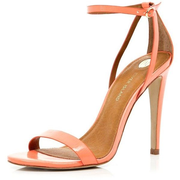 River Island Coral barely there stiletto sandals ($36) ❤ liked on Polyvore featuring shoes, sandals, heels, обувь, chaussures, sale, stiletto high heel shoes, heels stilettos, coral sandals and high heel sandals