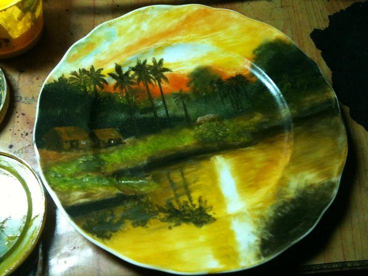 Viet nam landscap painting in white ceramic dish