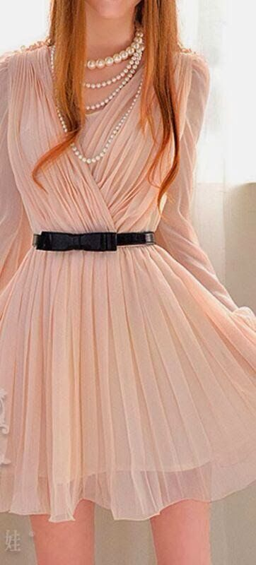 Women Lady Fashion: Adorable Long Sleeved Plated Mini Pink Dress for S...
