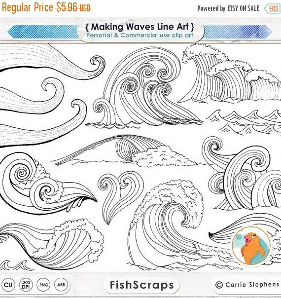 Wave Line Art + Silhouettes, Water Clip Art, Coastal ClipArt, Ocean Images, Nautical Sea Life, Swimming, Beach Illustrations – ~♥~○~♥~        Christine ~♥~○~♥~