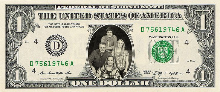 How about an entire family on a dollar bill? Everybody get in close!
