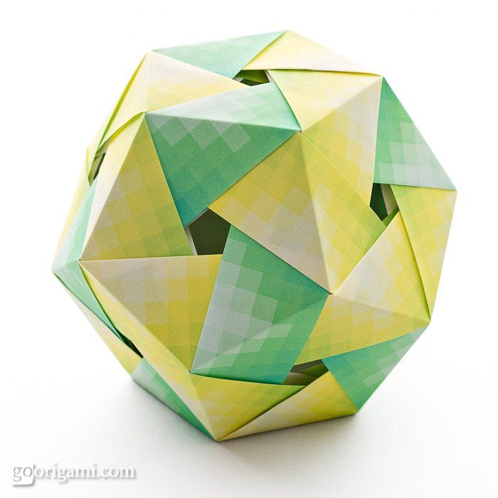 Name: Origami Dodecahedron Designer: Tomoko Fuse Units: 30 Paper ratio: square Assembled with: no glue Paper size: 7.5 cm Model size: ~ 8.5 cm Paper: Harmony paper (Grimmhobby, Japan) Diagram: Unit Origami Wonderland by Tomoko Fuse, p. 58