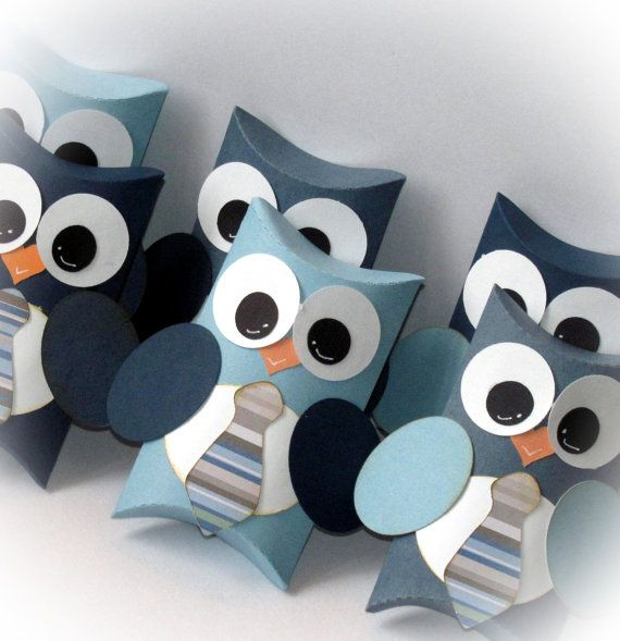 Items similar to Baby Boy Necktie Owl Pillow Gift Boxes Set of 12 on Etsy