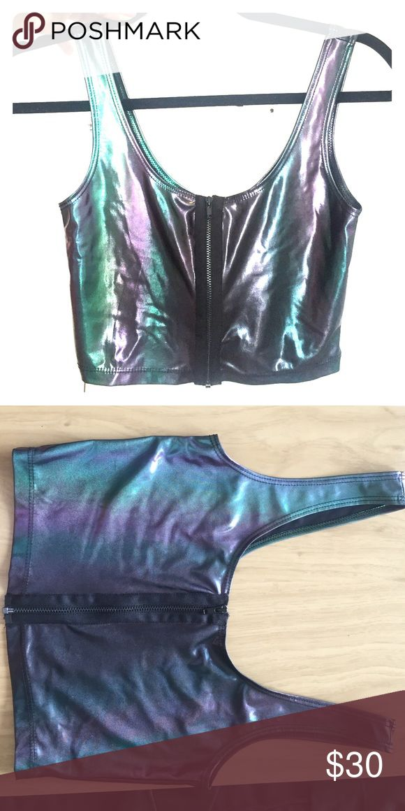Out From Under Metallic Bralette Never worn oil slick metallic zip up Bralette. Size small. Out From Under Other