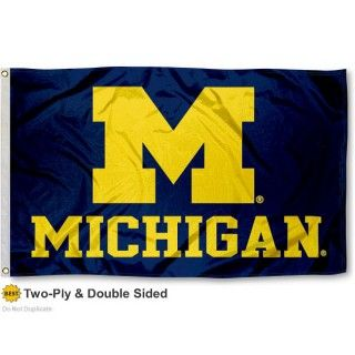 University of Michigan Flag - Stadium is made of two ply double sided polyester, measures 3'x5' in size, has quadruple-stitched fly ends, and college...