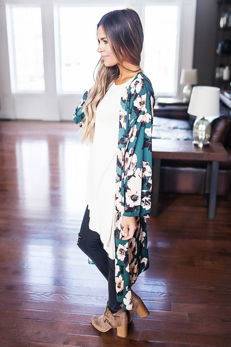 Emerald/Blush Floral Long Kimono - Dottie Couture Boutique