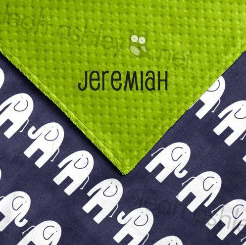Baby Blanket Navy Elephant Minky Lime Green by leahashleyokc