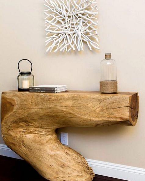 mesa com tronco de arvore