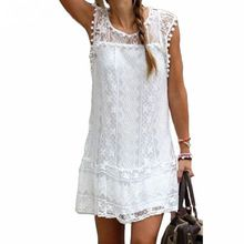 Fashion Summer Dress 2016 Casual Solid Sleeveless O-Neck  Loose Beach Lace Party Women Dresses New Sexy Mini Vestidos