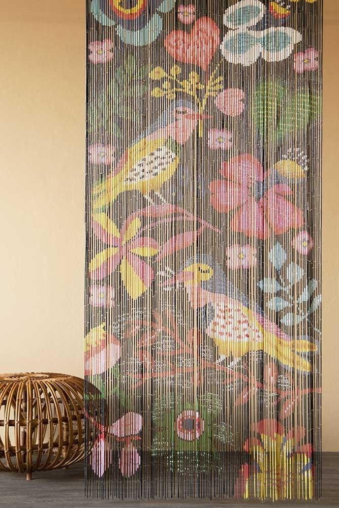 Bamboo Door Curtain Birds Flowers Design Rockett St George