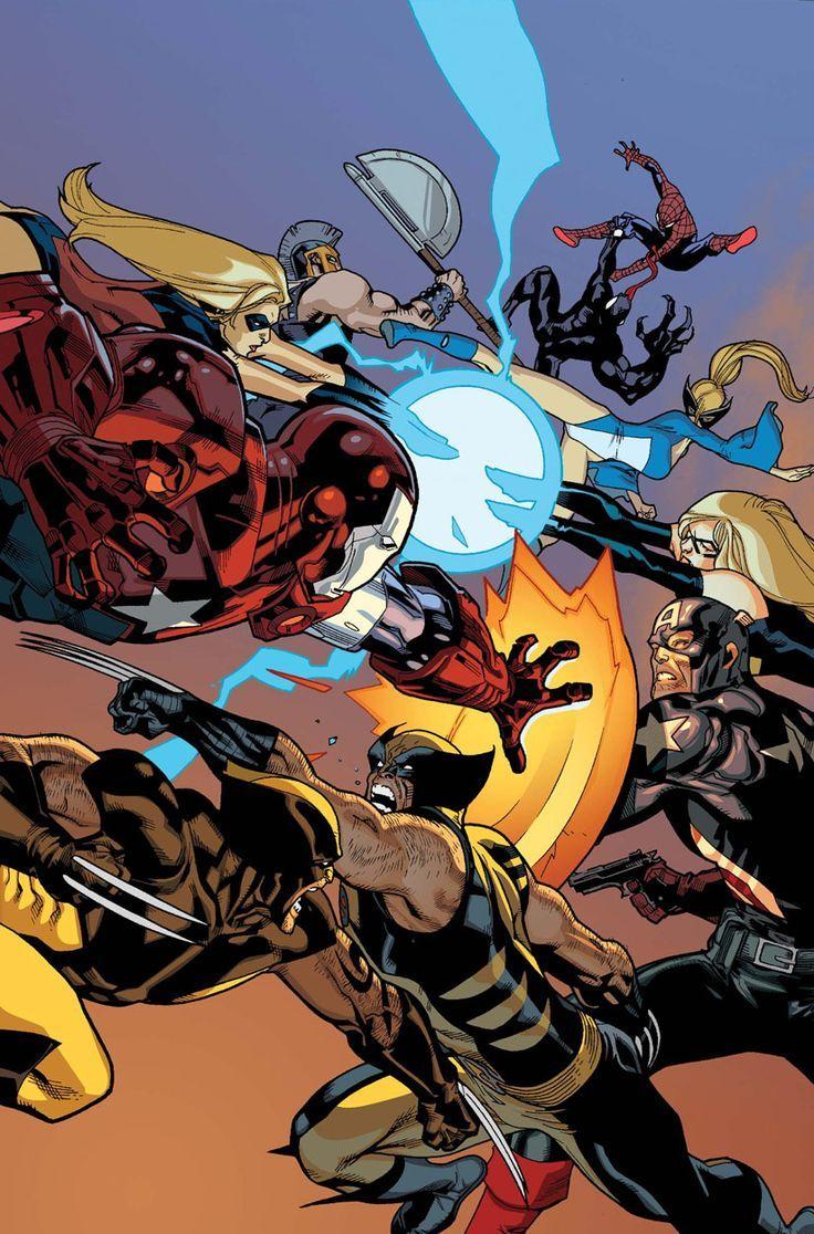 New Avengers vol 1 #56 | Textless cover art by Stuart Immonen, Wade von Grawbadger & Dave McCaig