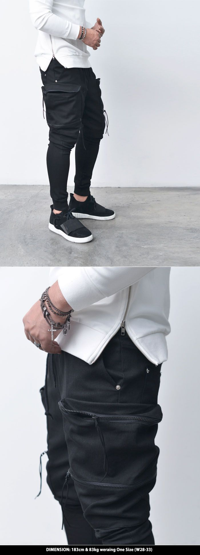 Bottoms :: Double Zip Big Cargo Baggy Jogger-Sweatpants 244 - Mens Fashion Clothing For An Attractive Guy Look