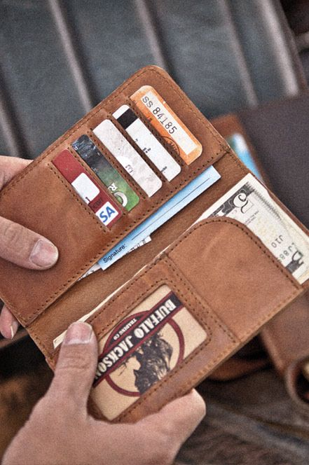 Men's Checkbook Leather Wallet | Handmade & Tough Leather by Buffalo Jackson Trading Co. Best Wallet ever, almost makes me feel like I have money!!