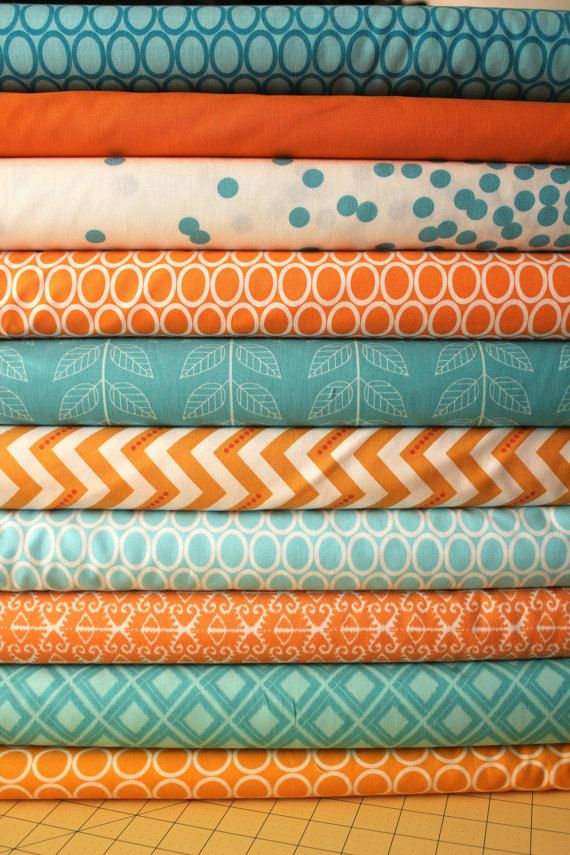 Fabric Ideas  - Design Turquoise Aqua Orange