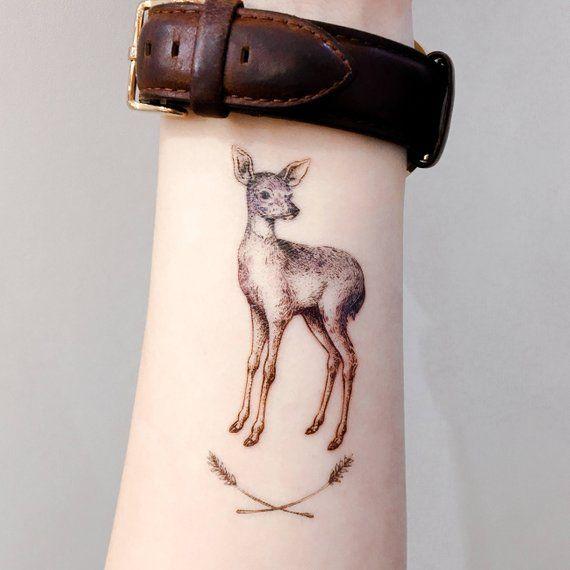 Deer tattoo Animal tattoo Tiny Flower tattoo Realistic Temporary tattoo Little Flower tattoo Stickers Moon Tattoo Tiny Tattoos Small Tattoos