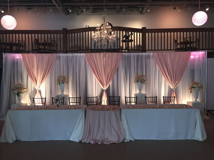 Traditional head table with sweetheart table middle