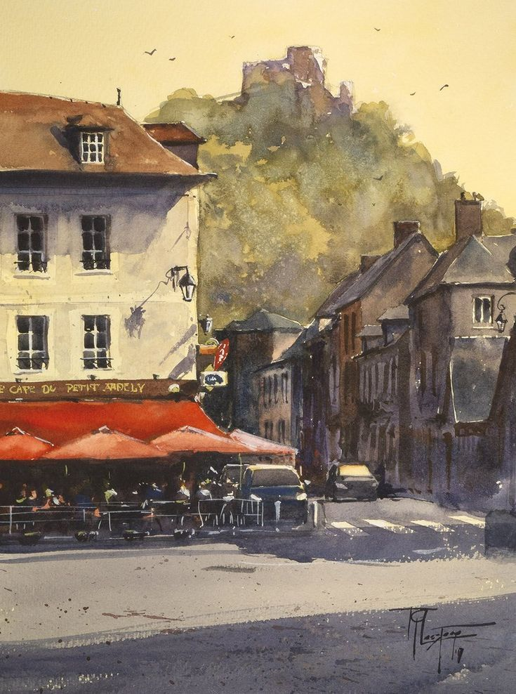 Le Cafe Du Petit Andely In 2020 Watercolor Paintings Watercolor