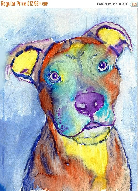 CYBER MONDAY SALE American Staffy colorful Dog Painting,American staffy dog Print ,watercolor American Staffie owner gift,… #dogs #etsy #art