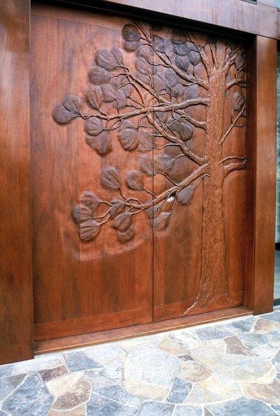 Carved Wood Door - Contemporary Asian Entryway