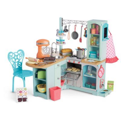 Gourmet Kitchen Set | Truly Me | American Girl lots of charm with all the detail, like that you can also buy a cute pink fridge to balance the busy work space. Very nice for Grace collection too. Gives back in US feel but some of her french bakery accessories too.