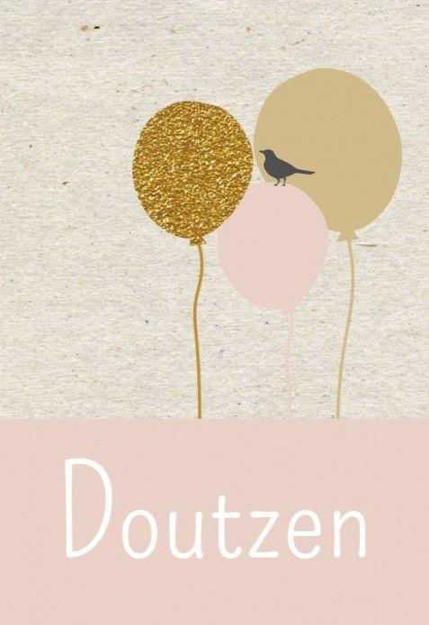 Geboortekaartje ballon goud - Doutzen voor