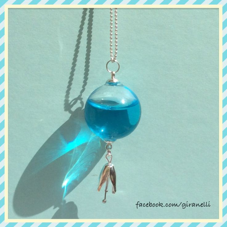 Fairyblue handmade glass necklace Giranelli design jewelry Www.giranelli.hu